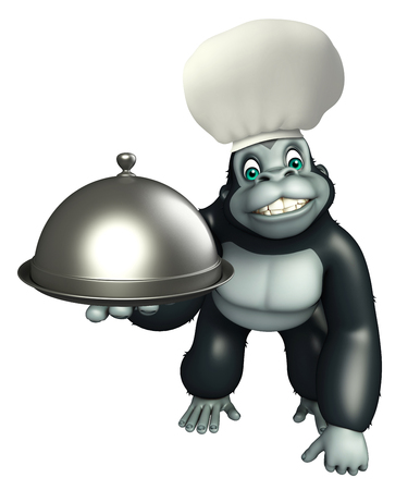 chef 3d: 3d rendered illustration of Gorilla cartoon character with chef hat