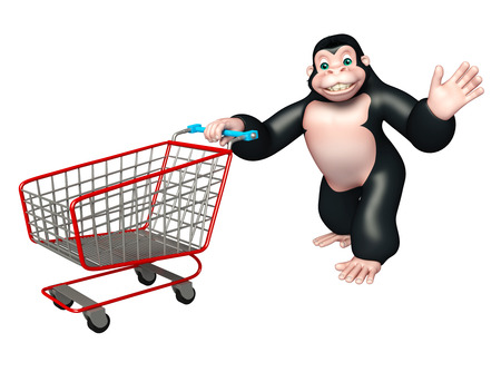 trolly: 3d rendered illustration of Gorilla cartoon character with trolly Stock Photo