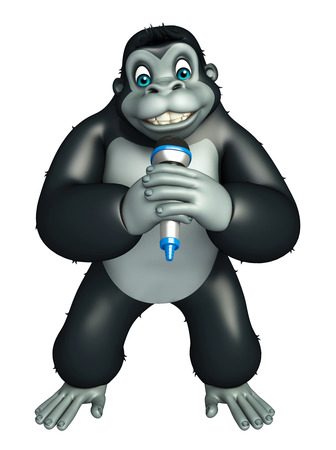 mike: 3d rendered illustration of Gorilla cartoon character with mike Stock Photo