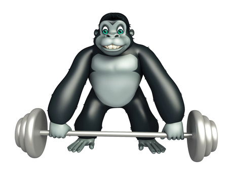 3d rendered illustration of Gorilla cartoon character with Gim equipment