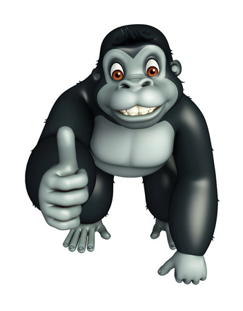 assigning: 3d rendered illustration of Gorilla cartoon character with assigning thums up Stock Photo