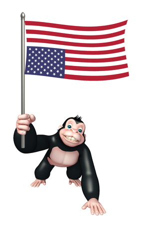 flying monkey: 3d rendered illustration of Gorilla cartoon character with flag Stock Photo