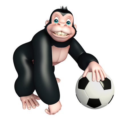 ball park: 3d rendered illustration of Gorilla cartoon character with football