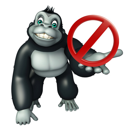 drive ticket: 3d rendered illustration of Gorilla cartoon character with stop sign
