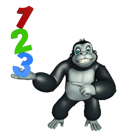 kiddie: 3d rendered illustration of Gorilla cartoon character with 123 sign