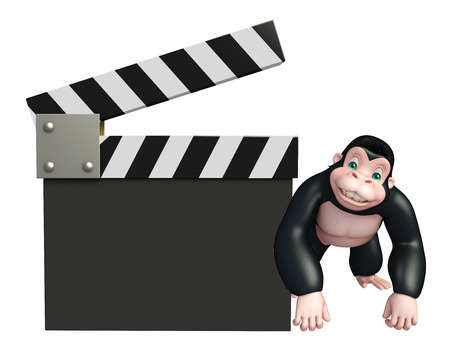 clapper board: 3d rendered illustration of Gorilla cartoon character with clapper board
