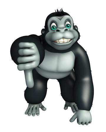 assigning: 3d rendered illustration of Gorilla cartoon character with assigning thums down