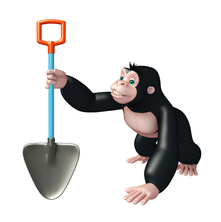 digging: 3d rendered illustration of Gorilla cartoon character with digging shovel