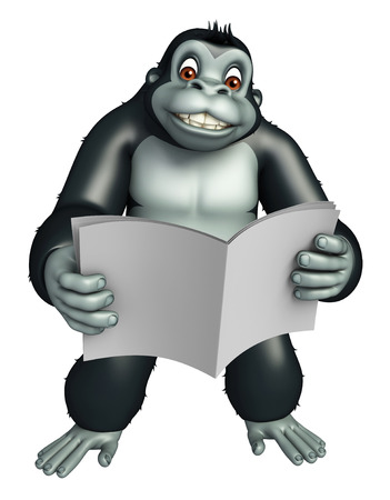news paper: 3d rendered illustration of Gorilla cartoon character with news paper