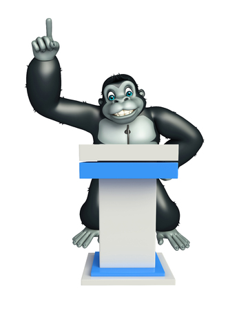 communication metaphor: 3d rendered illustration of Gorilla cartoon character with speech table Stock Photo