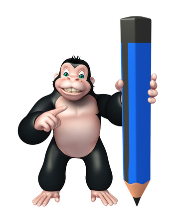 science symbols metaphors: 3d rendered illustration of Gorilla cartoon character with pencil