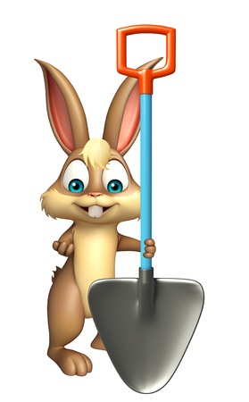 digging: 3d rendered illustration of Bunny cartoon character with digging shovel