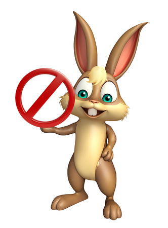 traffic ticket: 3d rendered illustration of Bunny cartoon character with stop sign
