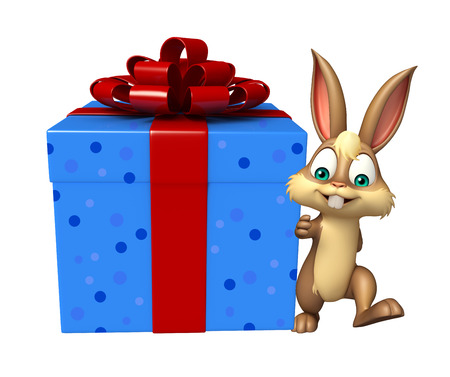 3d rendered illustration of Bunny cartoon character with gif box