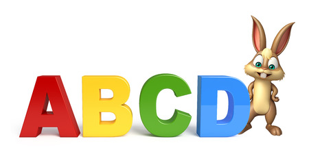 abcd: 3d rendered illustration of Bunny cartoon character with ABCD sign