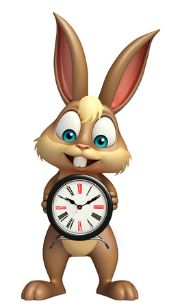 wake up happy: 3d rendered illustration of Bunny cartoon character with clock Stock Photo