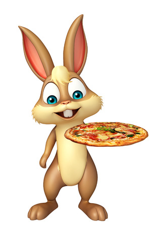3d rendered illustration of Bunny cartoon character with pizza