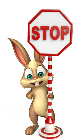 drive ticket: 3d rendered illustration of Bunny cartoon character with stop sign