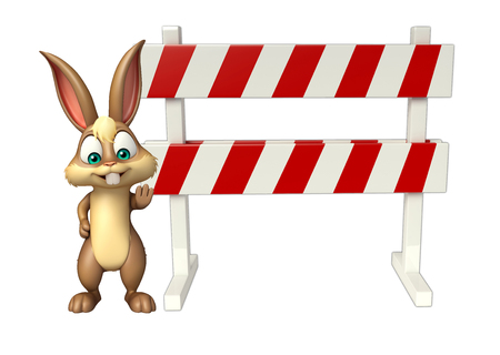 constuction: 3d rendered illustration of Bunny cartoon character with baracades