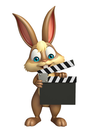 3d rendered illustration of Bunny cartoon character with clapper board Stock Photo