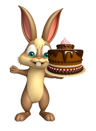 savoury: 3d rendered illustration of Bunny cartoon character with cake