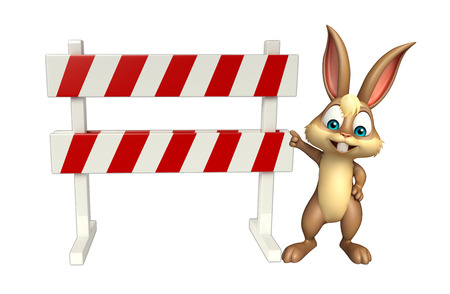 zoo traffic: 3d rendered illustration of Bunny cartoon character with baracades