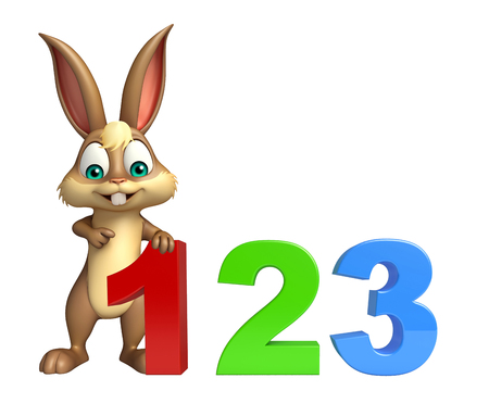 kiddie: 3d rendered illustration of Bunny cartoon character with 123 sign