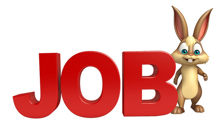 job hunting: 3d rendered illustration of Bunny cartoon character with job sign