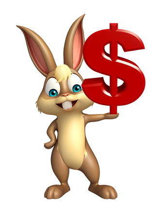 metallic  sun: 3d rendered illustration of Bunny cartoon character with doller sign