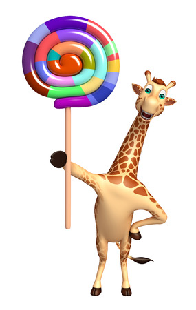lollypop: 3d rendered illustration of Giraffe cartoon character with lollypop Stock Photo