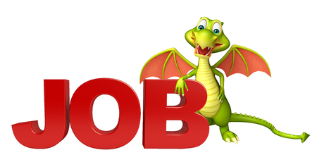 job hunting: 3d rendered illustration of Dragon cartoon character with job sign