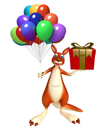 christmas shopping bag: 3d rendered illustration of Kangaroo cartoon character  with giftbox  and baloon Stock Photo
