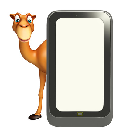 zoo dry: 3d rendered illustration of Camel cartoon character with mobile