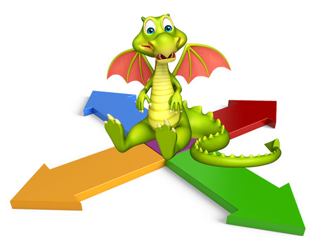 3d rendered illustration of Dragon cartoon character with arrow sign Imagens