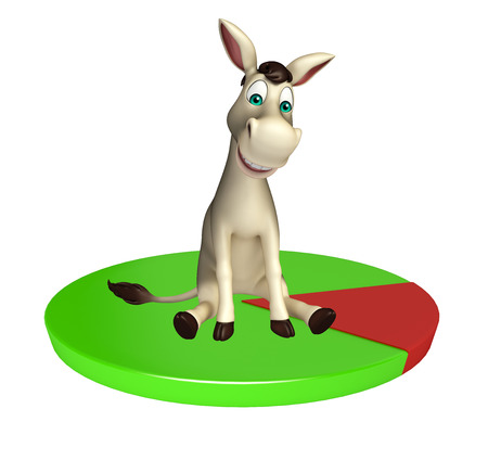 cuteness: 3d rendered illustration of Donkey cartoon character with circle sign