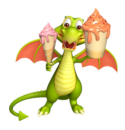 3d rendered illustration of Dragon cartoon character with ice cream