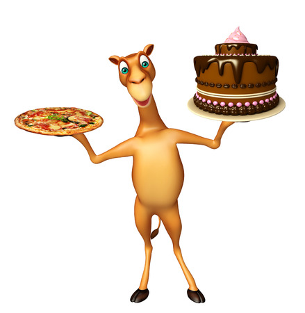 camel in desert: 3d rendered illustration of Camel cartoon character with pizza and cake
