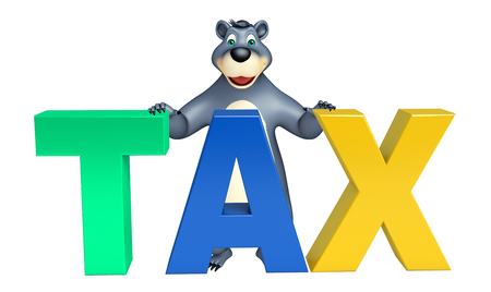plushy: 3d rendered illustration of Bear cartoon character with tax sign Stock Photo