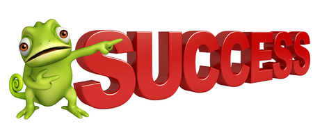 3d rendered illustration of Chameleon cartoon character with success sign
