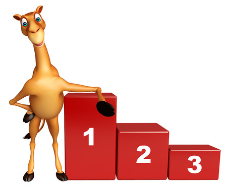 zoo dry: 3d rendered illustration of Camel cartoon character with level