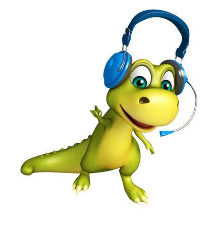 head phone: 3d rendered illustration of Dinosaur cartoon character with head phone Stock Photo