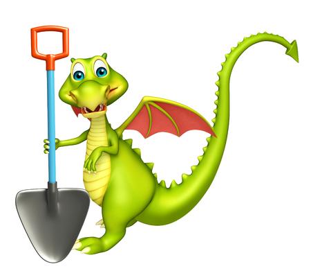 lizard in field: 3d rindió la ilustración de personaje de dibujos animados dragón con la pala de excavación