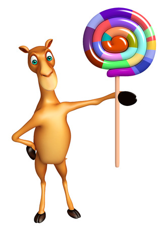 lollypop: 3d rendered illustration of Camel cartoon character with lollypop