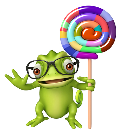 lollypop: 3d rendered illustration of Chameleon cartoon character with lollypop Stock Photo