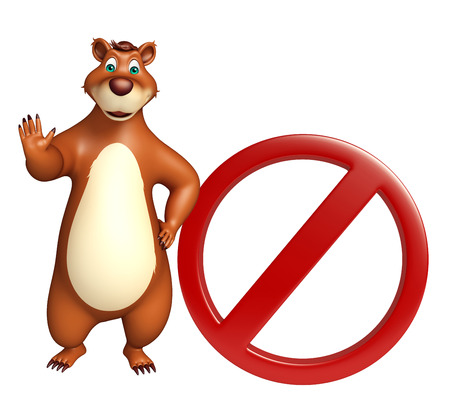 zoo traffic: 3d rendered illustration of Bear cartoon character with stop board