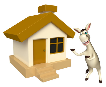 house donkey: 3d rendered illustration of Donkey cartoon character with home