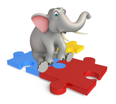 jig saw puzzle: 3d rendered illustration of Elephant cartoon character with puzzle