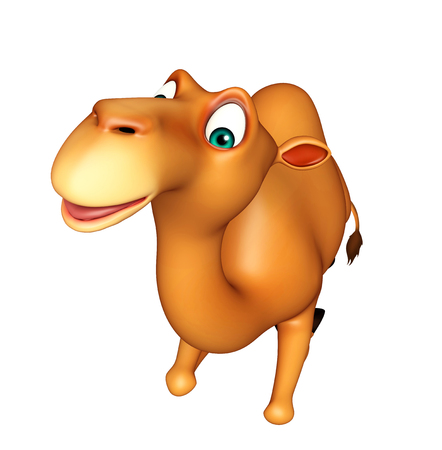 seating: 3d rendered illustration of Camel cartoon character with seating on ground Stock Photo