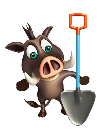 digging: 3d rendered illustration of Boar cartoon character with digging shovel Stock Photo