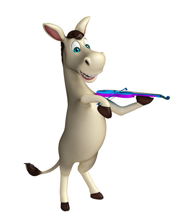 cuteness: 3d rendered illustration of Donkey cartoon character with violin